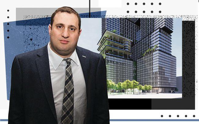 Michael Stern and a rendering of the project (Getty, JDS Development/SHoP Archictects)