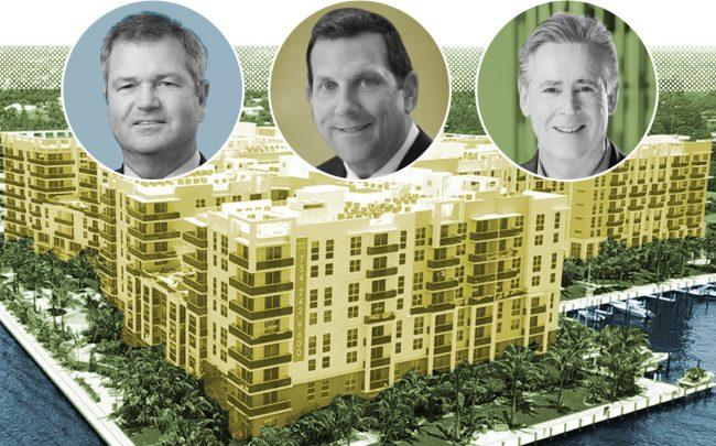 From left to right: 3333 South Port Royale Drive in Fort Lauderdale with Invesco CEO Martin Flanagan, Northwestern CEO John Schlifske, and, Mill Creek CEO William MacDonald (Invesco, Northwestern, Mill Creek)