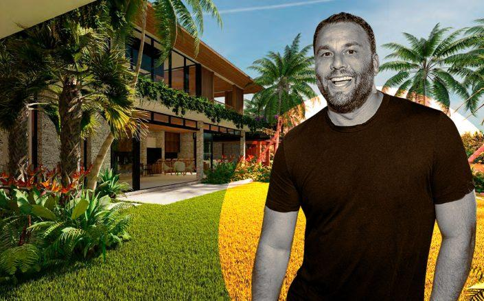 David Grutman with a rendering of the home (CMA Design Studio)