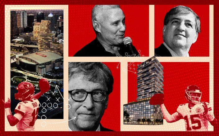 Clockwise: A rendering of Water Street Tampa, Ian Schrager, Jeff Vinik, rendering of Tampa Edition, Bill Gates. Inset: Patrick Mahomes and Tom Brady (Photos via Getty; Water Street Tampa/Photo Illustration by Kevin Rebong for The Real Deal)