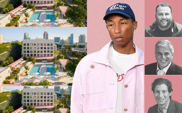 The Goodtime Hotel with Pharrell Williams and (from top) David Grutman, Michael D. Fascitelli and Eric Birnbaum (Getty, Alice Gao)