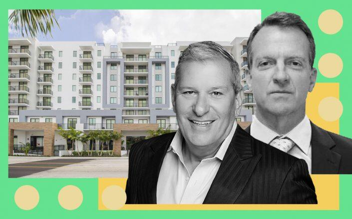 Soleste Twenty2 at 2201 Ludlam Road in West Miami, The Estate Companies executive Robert Suris and Westdale president and CEO Joe Beard (right) (Soleste Twenty2)