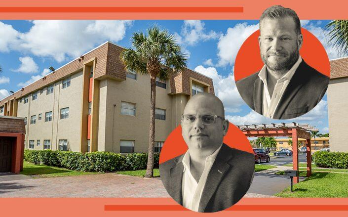 Lynd CEO A. David Lynd and Lynd Acquisition Group President Constantine Scurtis with Parc Place Apartments at 17600 Northwest Fifth Avenue in Miami Gardens (Parc Place)