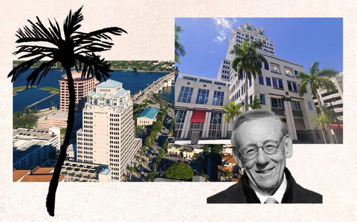 Stephen Ross (Getty) with Esperanté Corporate Center at 222 Lakeview Avenue in West Palm Beach (Esperanté Corporate Center)