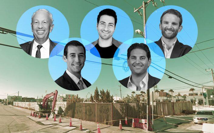 From left to right: David Edelstein, Nick Perez, Alex Karakhanian, Scott Sherman and Ben Mandell with the location (Google Maps, Related, Getty)