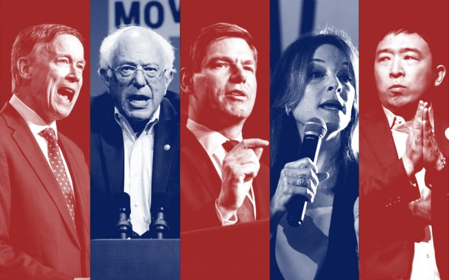 From left: John Hickenlooper, Bernie Sanders, Eric Swalwell, Marianne Williamson and Andrew Yang (Credit: Getty Images)