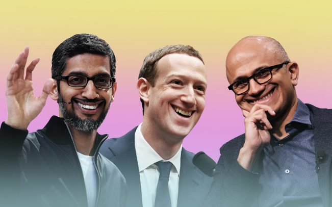 From left: Google CEO Sundar Pichai, Facebook CEO Mark Zuckerberg, and Microsoft CEO Satya Nadella (Credit: Getty Images)