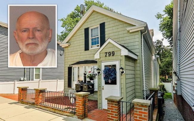 799 East Third Street and Whitey Bulger in his 2011 mugshot (Credit: Zillow, Getty Images)