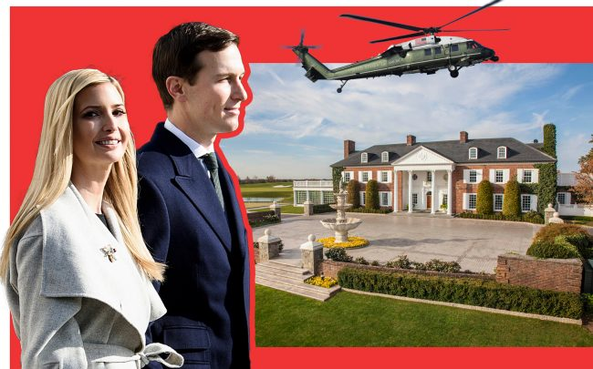 Ivanka Trump and Jared Kushner with Trump National Golf Club in Bedminster (Getty; Trump Org)