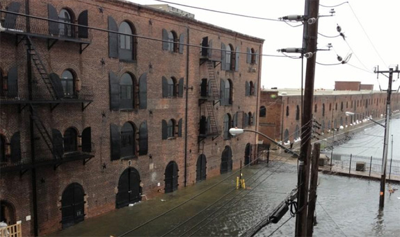 The streets of Red Hook, Brooklyn, flooded after Hurricane Sandy