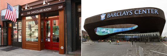From left, The Chocolate Room, Barclays Center