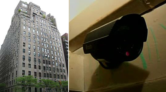 Left, 740 Park Ave., a security camera in a New York residence