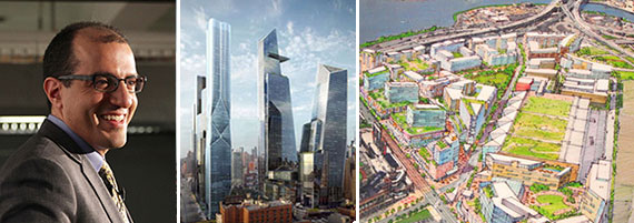 From left: Jack Hidary, a rendering of Hudson Yards and a rendering of Willets Point