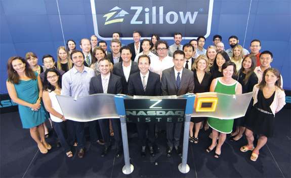The Zillow and StreetEasy teams at NASDAQ ringing the opening bell on Aug  19. StreetEasy   Zillow   Real Estate Listings