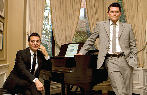 From left: Michael Feinstein and husband Terrence Flannery inside their music room (Photo: Christian Fernandez)