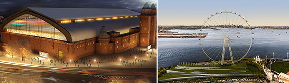 From left: Rendering of the Kingsbridge Ice Center and Staten Island's New York Wheel