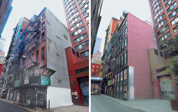 From left: 6 Cortlandt Alley (Credit: Tribeca Trib) and a rendering of the proposed building (Credit: TRA Studio)