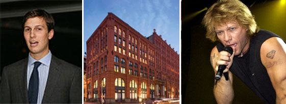 From left: Jared Kushner, the Puck Building at 295 Lafayette Street and Bon Jovi