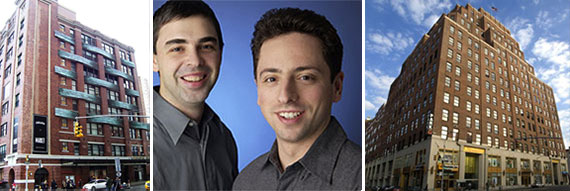 From left: Chelsea Market at 75 Ninth Avenue, Google's Larry Page and Sergey Brin and 111 Eighth Avenue