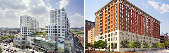 From left: Sky View Parc in Flushing and 250 West Street in Tribeca