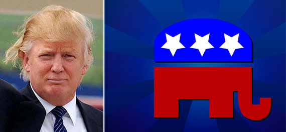 From left: Donald Trump and the GOP logo