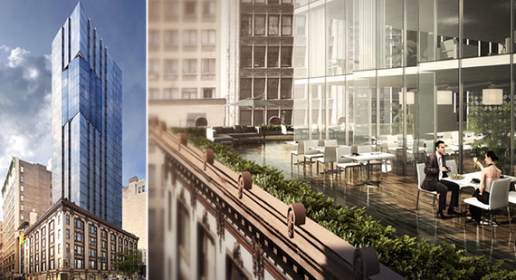 Renderings of the proposed addition to 1165 Broadway (Credit: Spector Group)