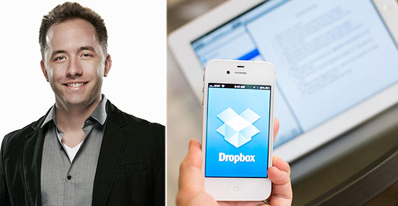 From left: Dropbox co-founder Drew Houston and the file-sharing app