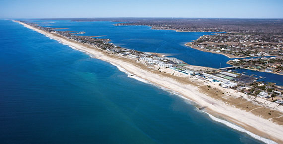 An aerial shot of the Hamptons