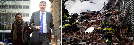 From left: Shirlane McCray and Bill de Blasio and rubble of collapsed buildings in East Harlem blast (Credit: @khalidkhan787 via Twitter)