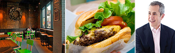 From left: 1 Old Fulton Street, a Shake Shack burger and Danny Meyer