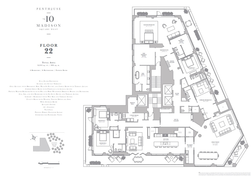 The floor plan of the 10 Madison Square West penthouse