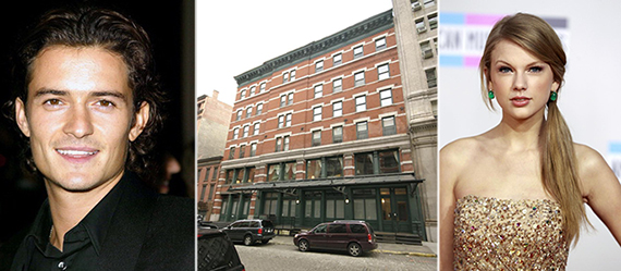 From left: Orlando Bloom, 155 Franklin Street and Taylor Swift
