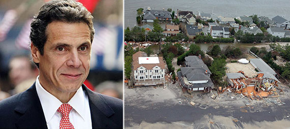 From left: Governor Andrew Cuomo and Hurricane Sandy damage on Long Island