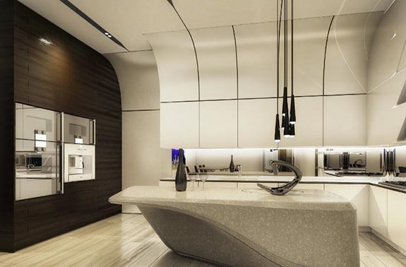 Inside a kitchen at Zaha Hadid's 520 West 28th Street