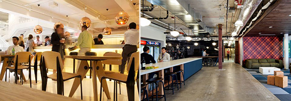 From left: Activity based working space at the GLG offices and the Microsoft offices