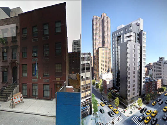From left: 204-206 East 39th Street and a rendering of CB Development's building at 200 East 39th Street