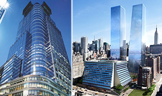 From left: 4 Times Square and Manhattan West project rendeing