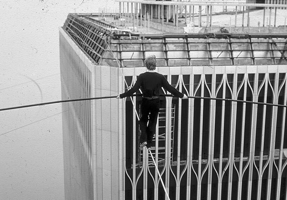 Philippe Petit during his 1974 high-wire walk between the Twin Towers of the World Trade Center