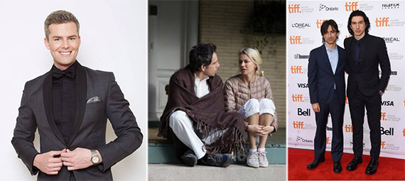 """From left: Ryan Serhant, Ben Stiller and Naomi Watts in """"While We're Young"""" and Noah Baumbach with Adam Driver at the Toronto International Film Festival"""