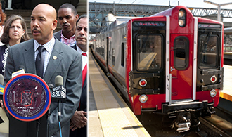 From left: Ruben Diaz Jr. and Metro-North New Haven line
