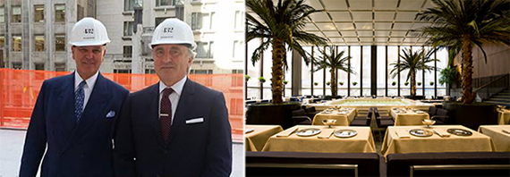 From left: Alex von Bidder and Julian Niccolini at 432 Park Avenue construction site and the Four Seasons