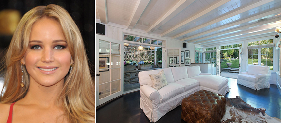 From left, Jennifer Lawrence, her newly-bought home in Beverly Hills