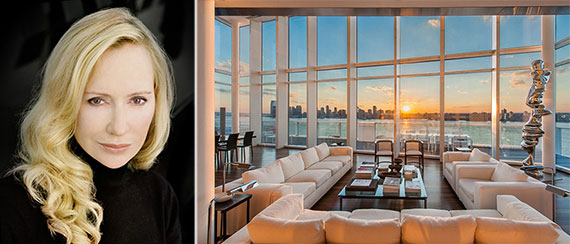 From left: Louise Blouin and her penthouse at 165 Charles Street
