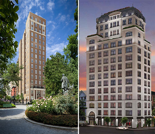 From left: 18 Gramercy Park South and the Touraine at 132 East 65th Street