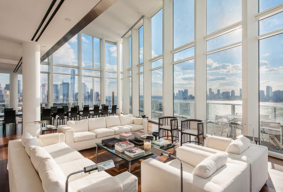 living room at the penthouse at 165 Charles Street