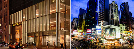 From left: Gucci on Fifth Avenue and Causeway Bay, Hong Kong