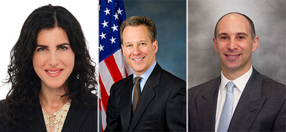 From left: Lauren Muss, Eric Schneiderman and Peter Turchin