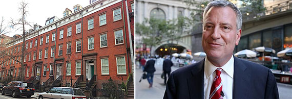From left: brownstones in New York and Bill de Blasio
