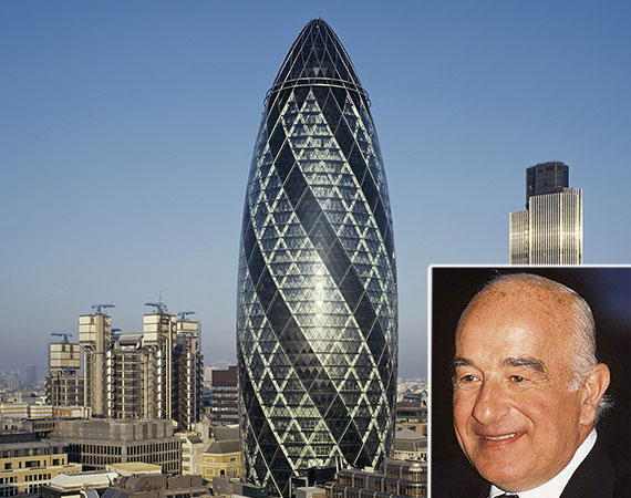 London's Gherkin tower and Joseph Safra