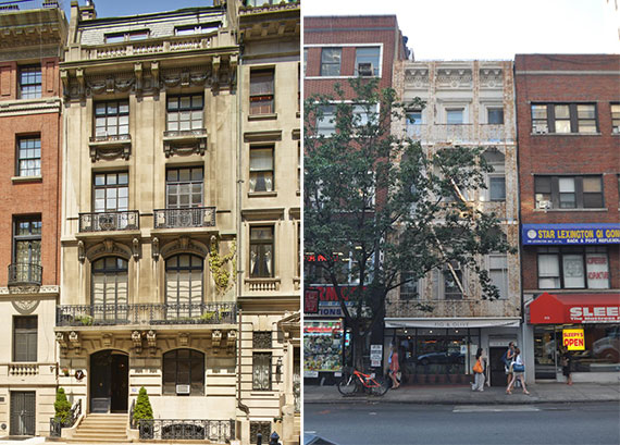 From left: The Scribner mansion at 39 East 67th Street and 808 Lexington Avenue